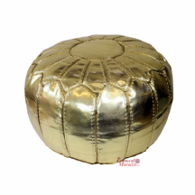 Moroccan Pouffe Pouf Ottoman Footstool STUFFED Gold Faux Leather Hand-stitched